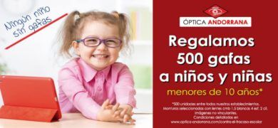 500 muestras gratis de gafas en Óptica Andorrana para niños - Muestragratis.com