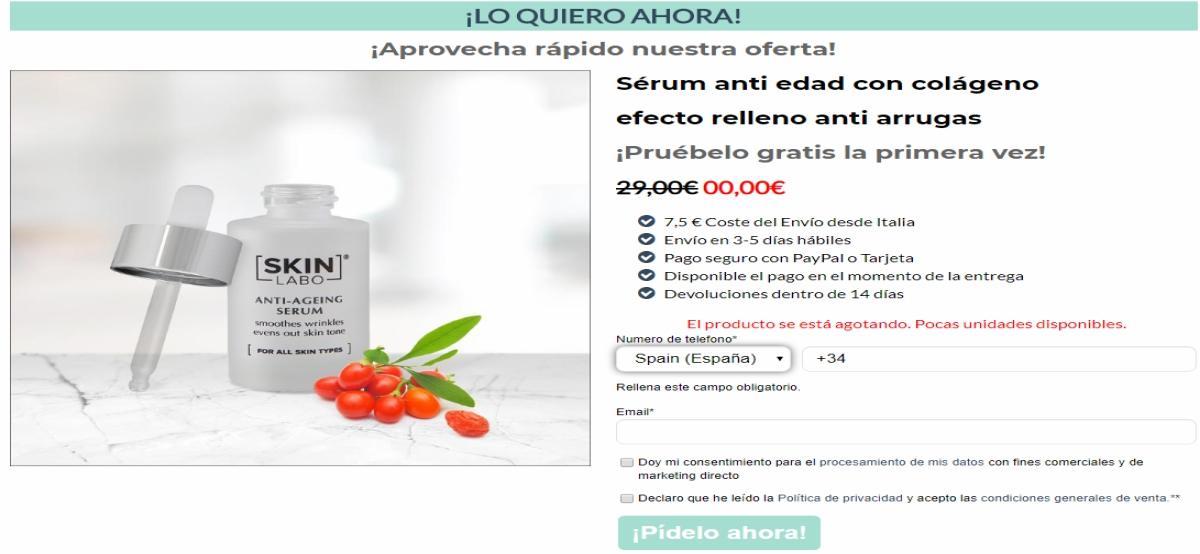 Skin Labo regala sérum anti edad con colágeno si pagas el envío - Muestragratis.com