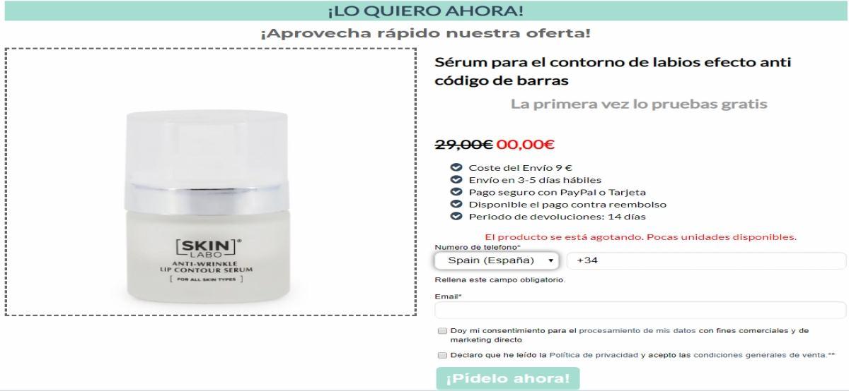 Skin Labo ofrece gratis sérum para el contorno de los labios si pagas el envío - Muestragratis.com