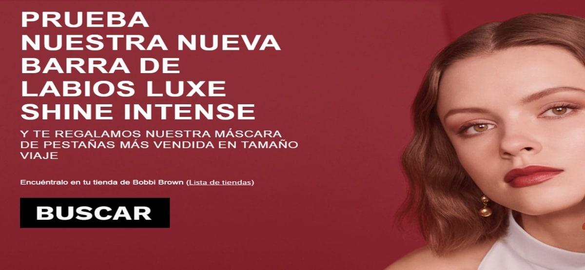 Bobbi Brown regala mascara de pestaña por la compra de 1 barra de labial Luxe Shine Intense - Muestragratis.com