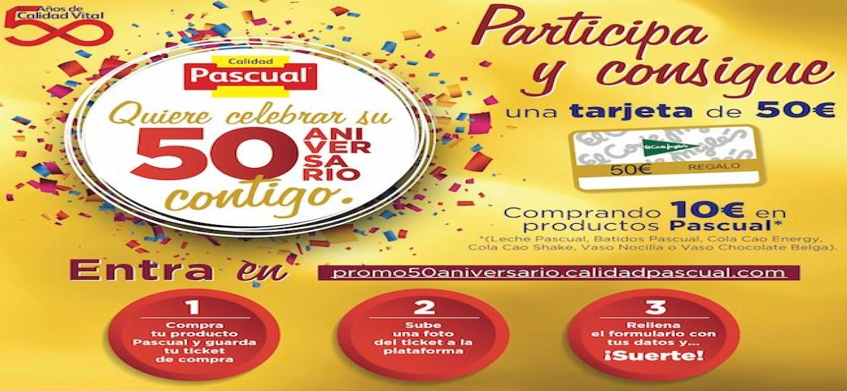 Pascual celebra su 50 aniversario y sortea 50 tarjetas de 50€ - Muestragratis.com