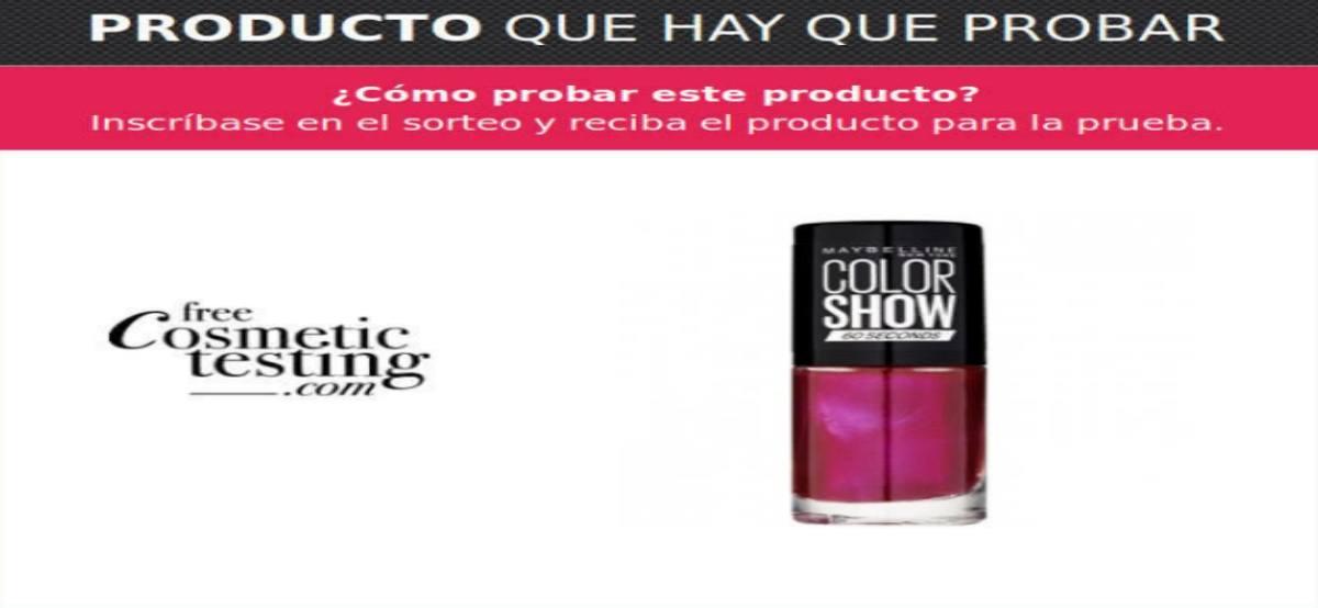 Promoción De Free Cosmetic Testing Para Probar Gratis Maybelline Color Show 60 Segundos.