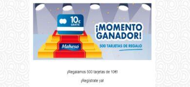 Maheso Regala Diariamente Tarjetas Con 10€