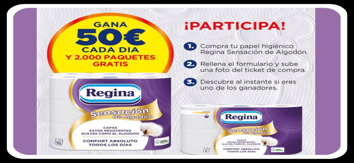 Participa En El Sorteo De Regina Que Regala Paquetes Diarios Y 50€ Cada Día